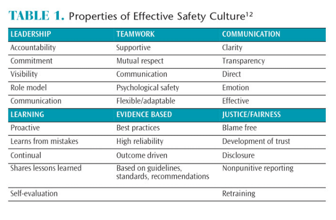 Effective Safety Culture