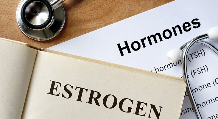 Estrogen word written on the book and hormones list