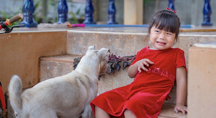 girl afraid of puppy