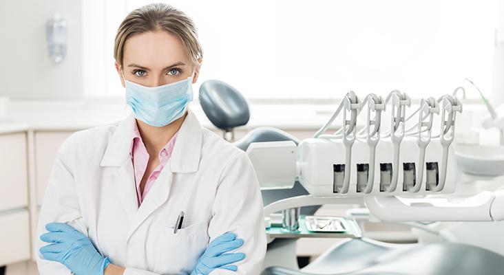 Dentist wearing mask