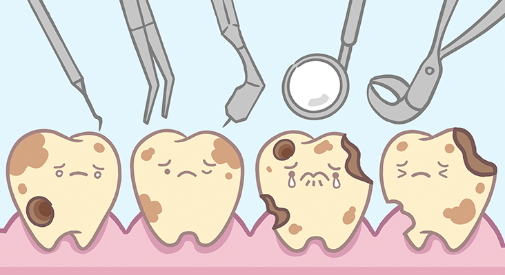 cartoon of dental tools and diseased teeth