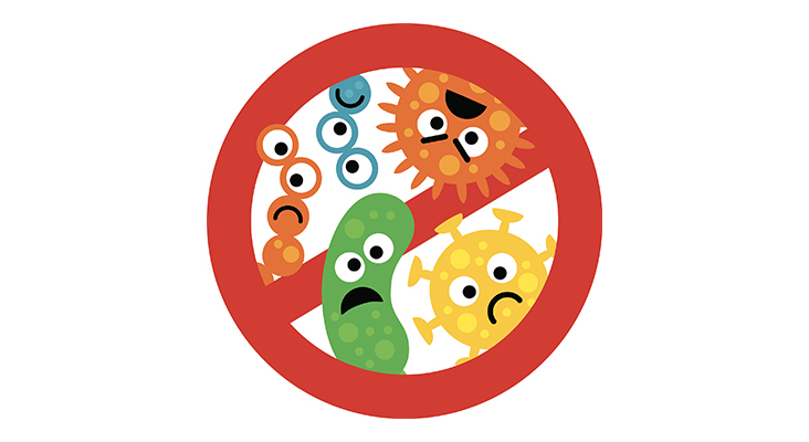 Stop bacterium sign with cute cartoon gems in flat style isolated on white background. Alert circle symbol for antibacterial products. Art vector illustration