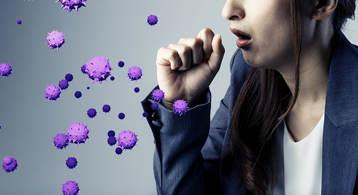woman coughing and graphics of virus coming out