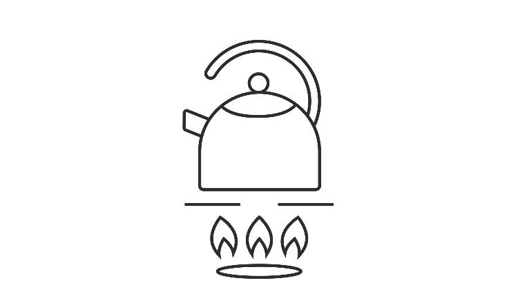 thin line teapot on gas stove