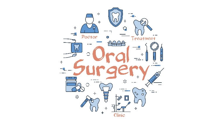 Vector linear blue round concept of Oral Surgery. Thin line icons of doctor, clinic, teeth implant, tools and medicine