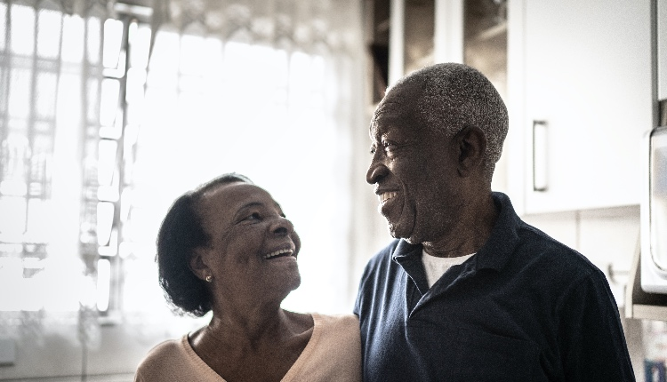 Portrait of senior couple at home