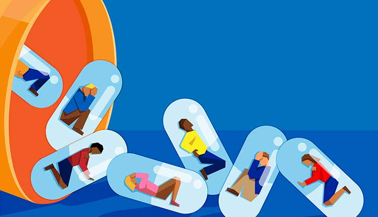 people trapped inside pill capsules that are being emptied out of a pill bottle - prescription drug addiction concept