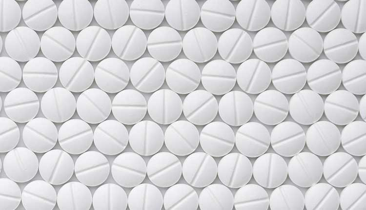 Drugs tablets pattern top view