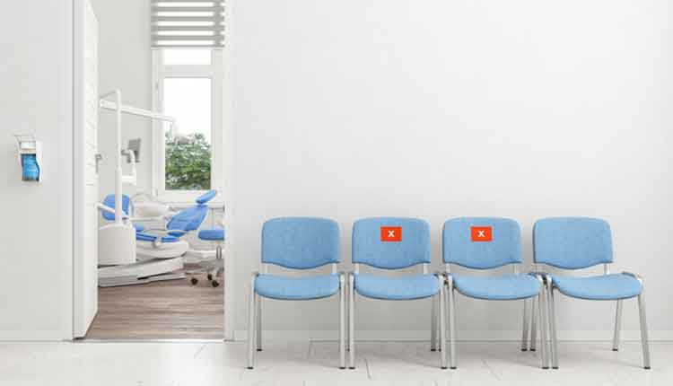 Dental Office Waiting Room With Social Distancing Seats Arranged According To New Normal
