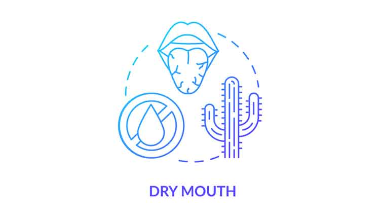 Dry mouth blue concept icon. Dehydration sign. Oral problem. Sore throat. Lack of saliva on tongue. Rotavirus symptom idea thin line illustration. Vector isolated outline RGB color drawing