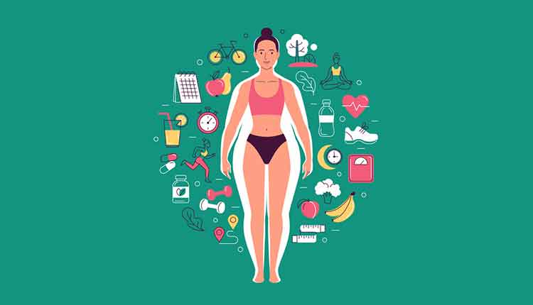 Vector illustration of cartoon young woman with slim body in underwear over the overweight body silhouette surrounded by healthy lifestyle icons. Isolated on green background.