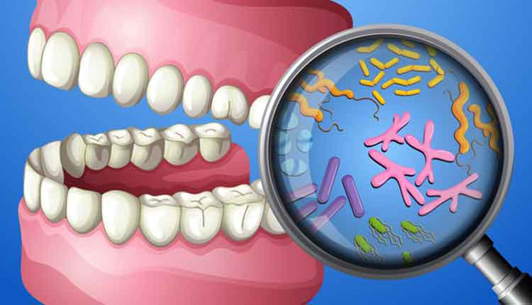 graphic of mouth and bacteria